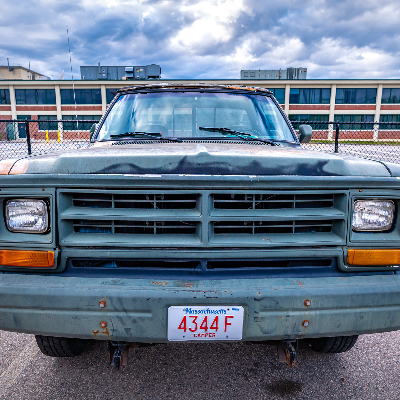 Parked in the old WB production facilities parking lot in Dorchester. Pickup truck painted in camouflage.
