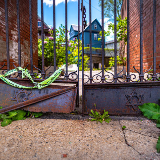 Check out these starts of David on this old gate at the location of a former Synagogue in Dorchester.