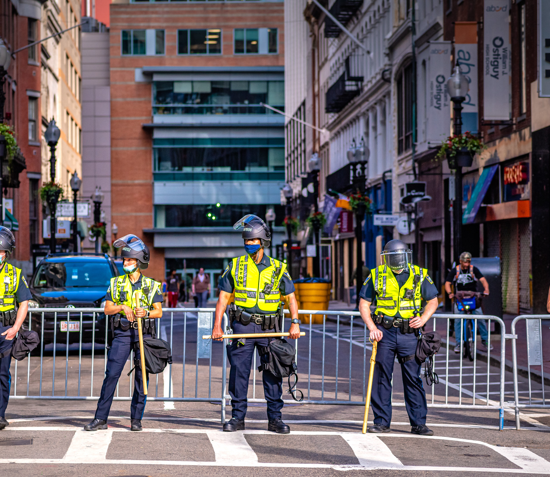 Boston Police started barricading the side streets almost immediately, after an early protest turned to looting. Subsequent marchers were prevented from getting any where that wasn't a main street. That the shutdown had ghosted the streets already made it easier to cut off flow to them; shops quickly boarded up, anywhere.