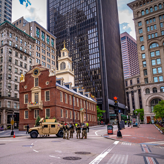 Military Police on the very ground of the Boston Massacre. Unfortunatly I didn't get very close for the proper shot.