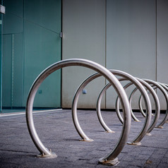 Bike rack near the Federal Reserve Building.