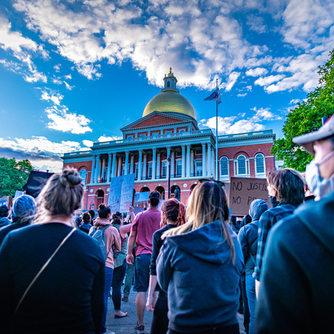 A protest at the State House in Beacon Hill in Boston. I was there early, before the crowds arrived from Nubian Square. Later than evening riots and looting broke out in that part of town.