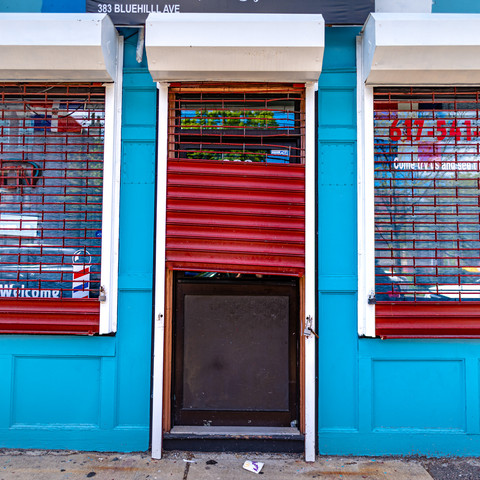 Shuttered barber shops during the pandemic.