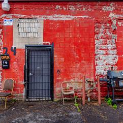 Garage on a side street in Dorchester.