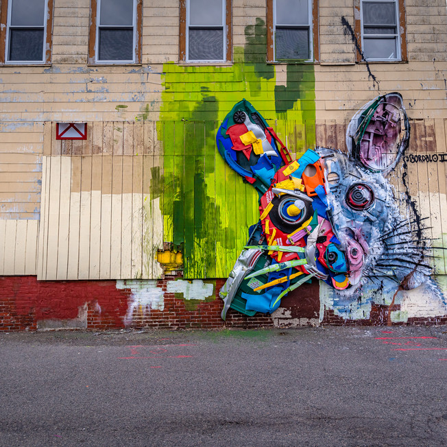 Incredible mural by Portugese artist Bordalo II in Lynn.