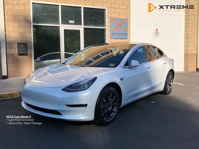 2018 Tesla 3 White - CeramicPro Outside.