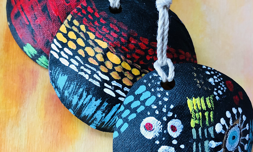 Set of 3- Hand Painted Ornaments