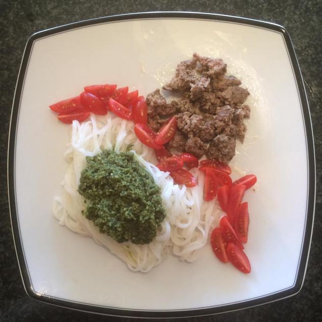Beef, tomatoes, rice noodles.  Homemade pesto Shelled pumpkin seeds Big bunch basil Olive oil Bit of garlic Blend SO good