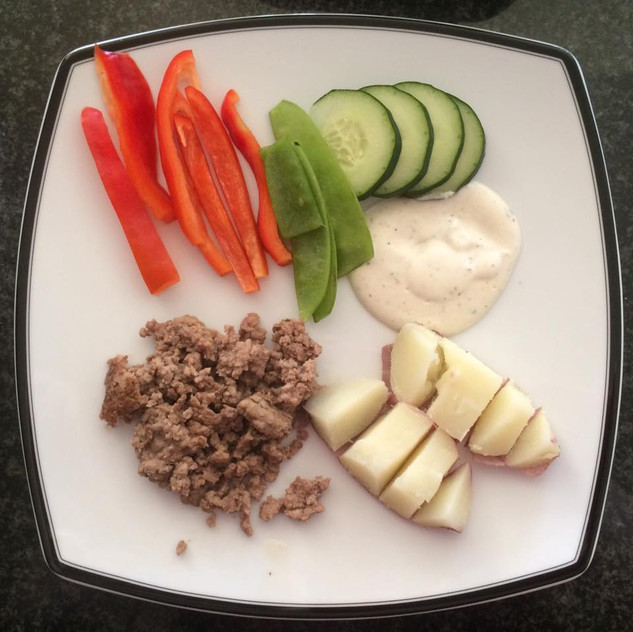 Ground beef, potato, bell peppers, cucumbers, snow peas with ranch