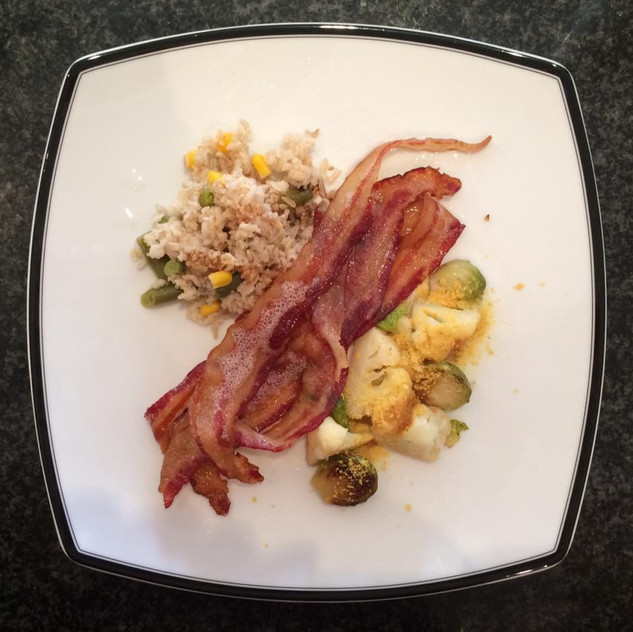 Rice with corn and green beans Baked bacon Brussels sprouts & cauliflower with Brewers yeast and soy sauce