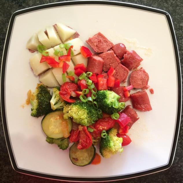 Potato, hot dog, broccoli, zucchini, tomato, green onion