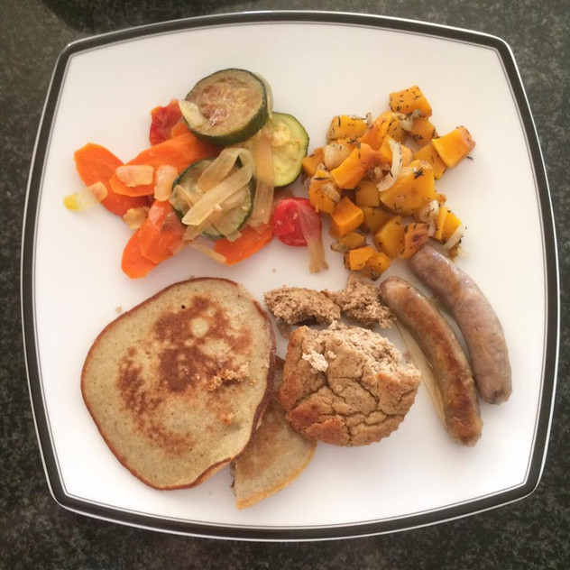 """This was a """"leftover night."""" Z chose these items from many leftover options.  Paleo pancakes  1/2 cup buckwheat, soak overnight 2 eggs... See More"""