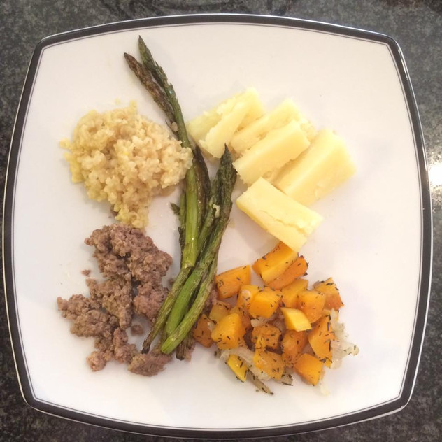 Quinoa, sweet potato, butternut squash with thyme, asparagus, beef