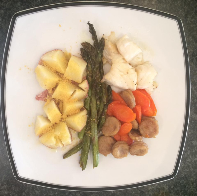 """Potato with Brewers yeast, asparagus, sausage and carrot, white fish.  For nearly 3 years Z would not eat fish. We never pushed it but continued to occasionally prepare it. This even though he had never really had it...Kids chose things not to like, it is part of growing up and forming an identity. Just last week Z decided to eat tuna salad """"just like Christina and Daddy."""" He liked it. Of course, the high raisin/apple/nut density in my version of tuna salad may have something to do with that."""