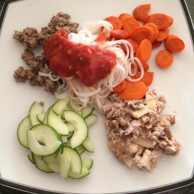 Beef, carrot, cucumber, rice noodles, tuna fish salad.