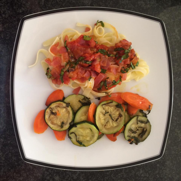 Zucchini and carrots with mint, gluten free pasta, fresh tomato sauce with basil.