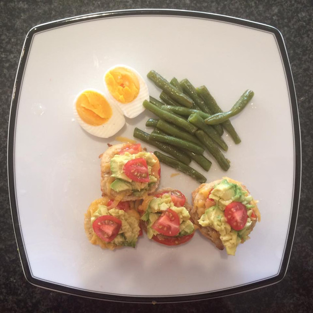 Green Beans Hard Boiled Egg Gluten free bread with avocado, tomato, cheese