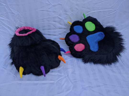 Black and Rainbow Feetpaws