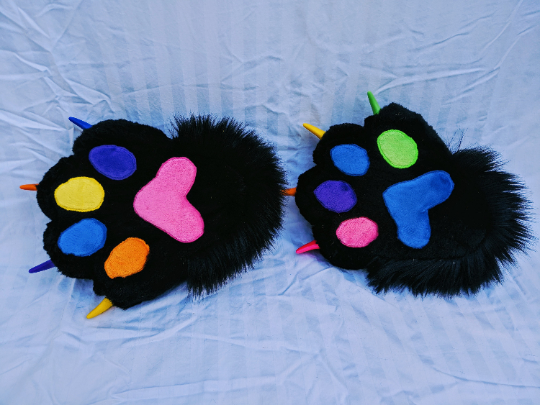 Black and rainbow feetpaws
