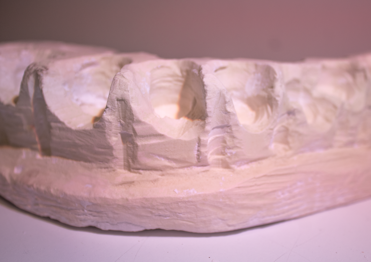 plaster carving close up