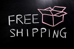 Chalk drawing - Free shipping text and a