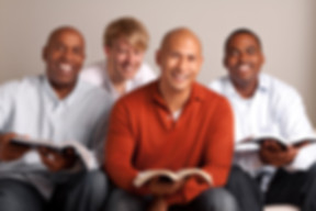 Diverse group of men in a small group.