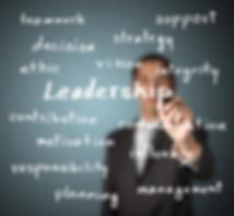 businessman writing leadership skill con