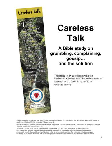 Careless Talk - Reproducible Bible Study | Ambassadors of Recon