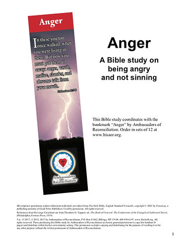 Anger - Reproducible Bible Study