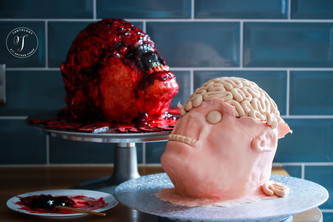 Red Velvet Severed Head Cakes for the JIGSAW Movie Launch on DVD & Blu-Ray
