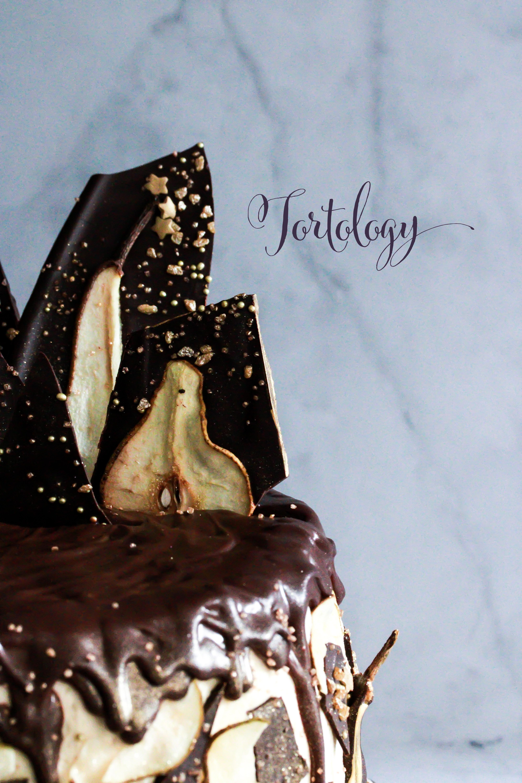 Chocolate Pear Amaretto Cake Tortology