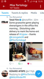 Total Film tweeting about the JIGSAW Movie Release Severed Leg Cakes