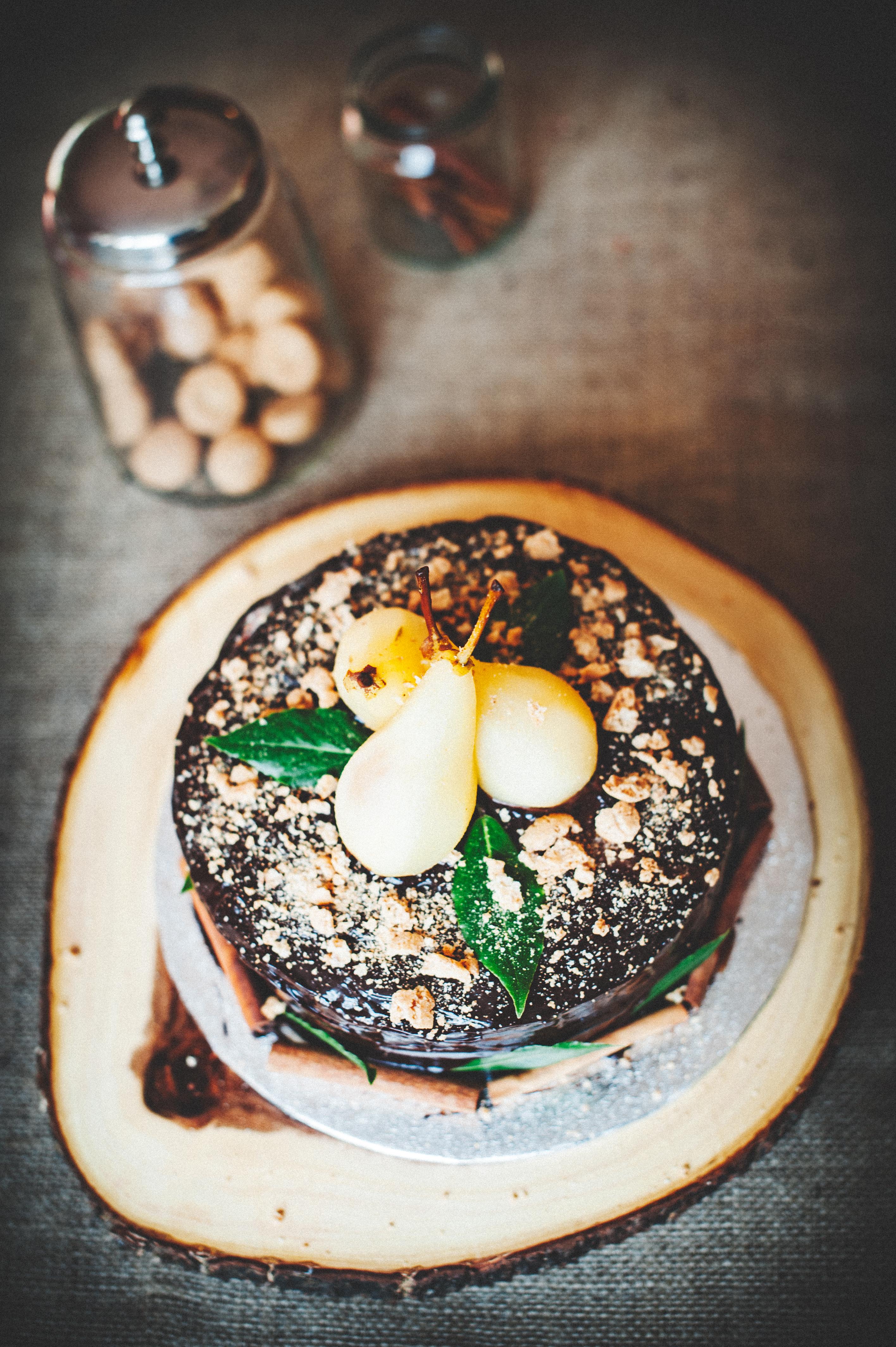 Chocolate, Pear & Amaretto Cake