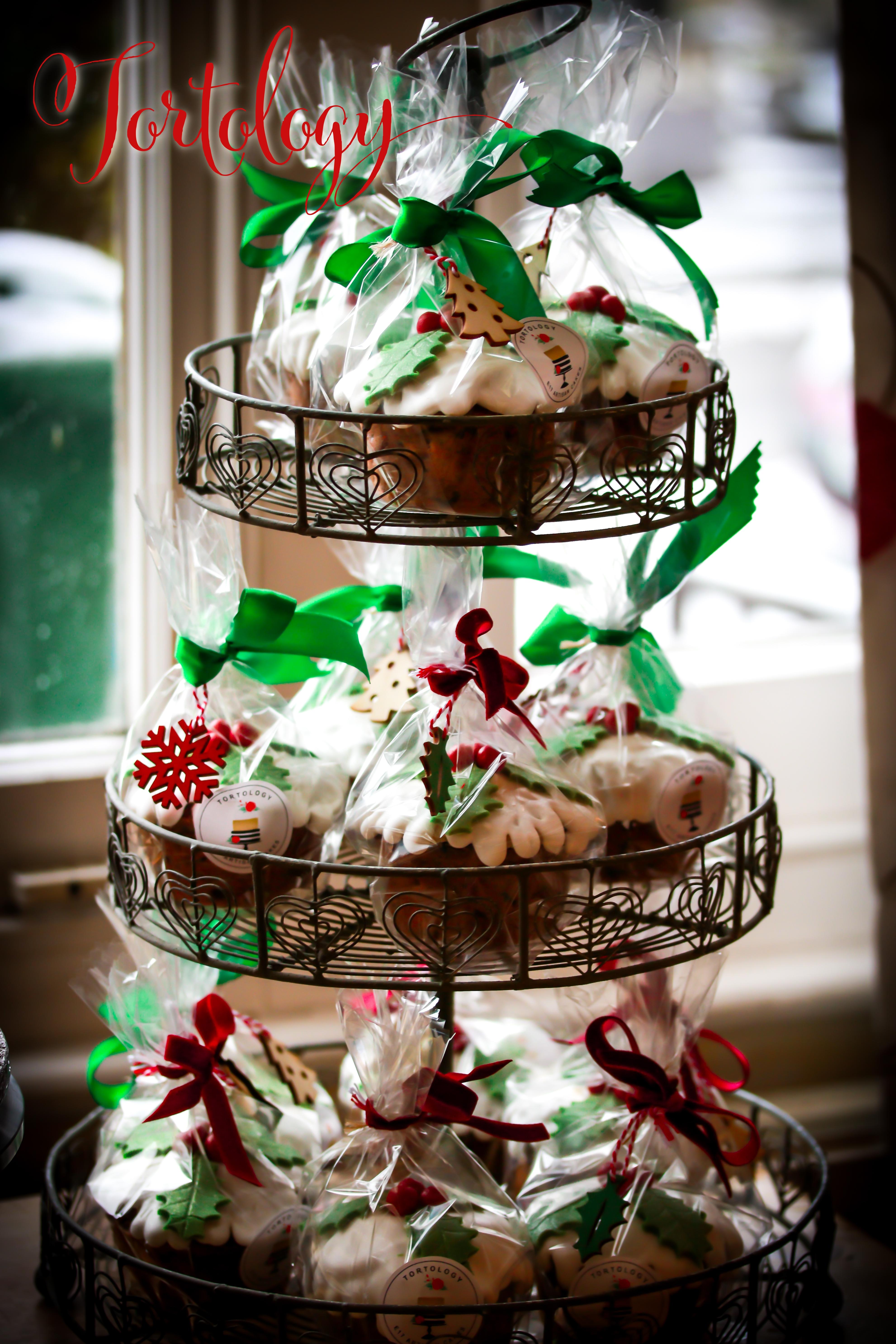Mini Christmas Cakes Display