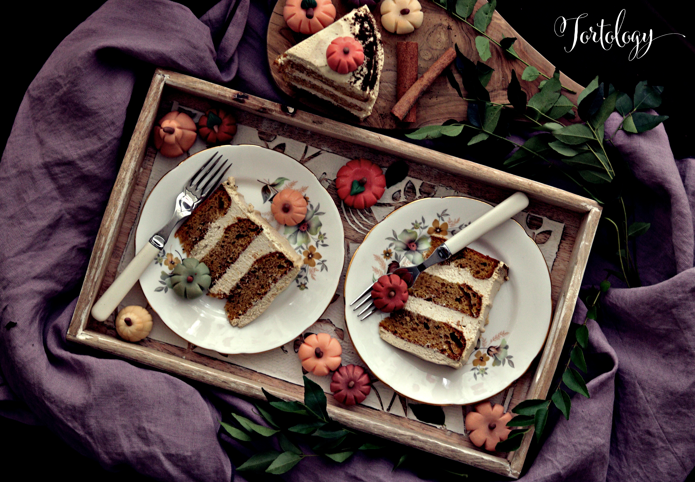 Pumpkin Spice Latte Cake Slices with LOGO