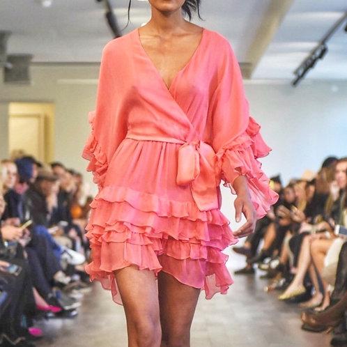 S215C20 Silk chiffon ruffle wrap dress