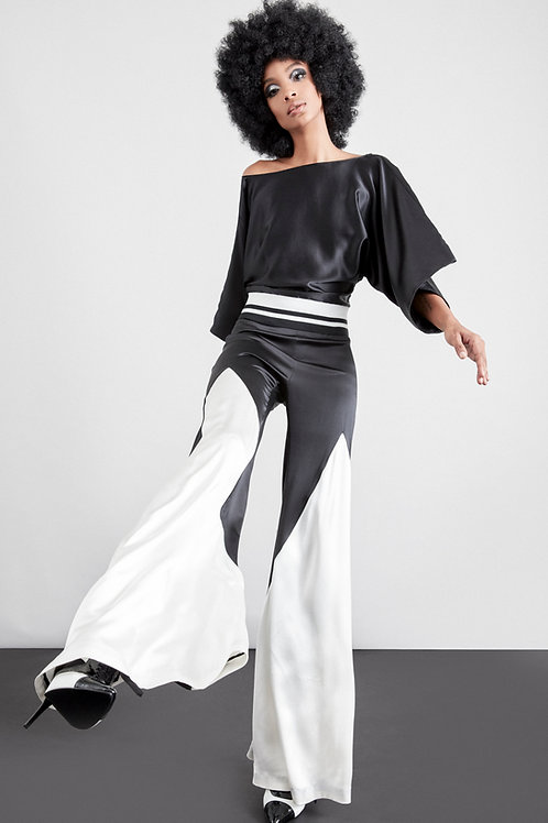 PF675S21BW   Silk crepe satin over wide pant w/godet