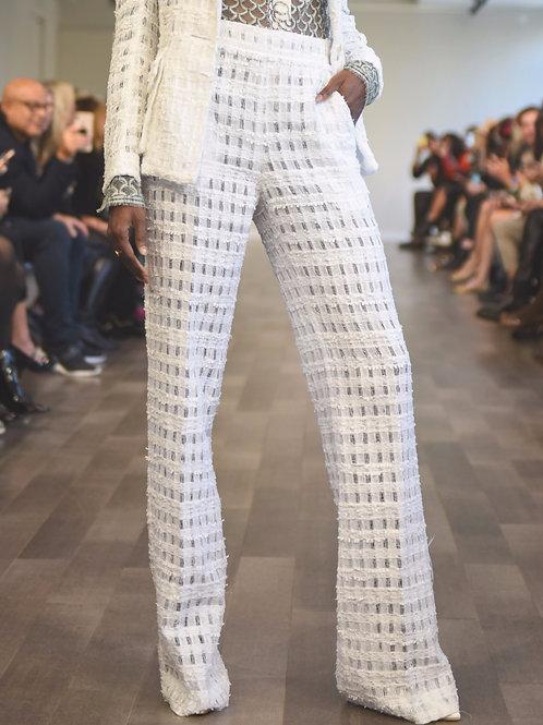 S660T20. White gauze tweed wide pant