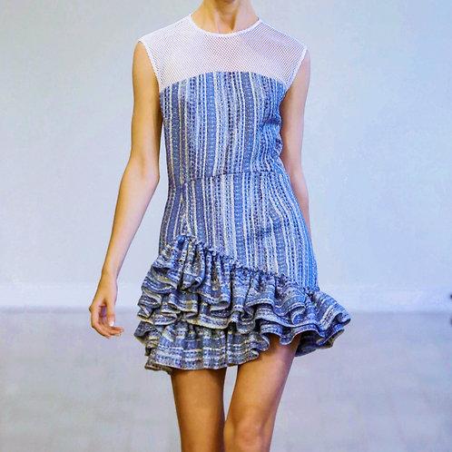 S210T20 Metallic tweed ruffle dress