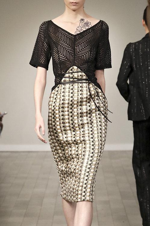 F202LT20.Lace with Metallic tweed dress