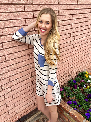 Ivory and Charcoal Crew Stripe Tunic