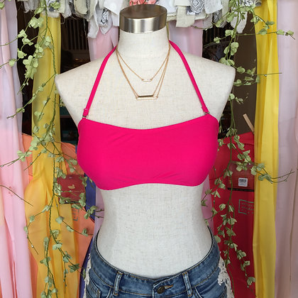 Hot Pink Monogram Bandeau Swim Top