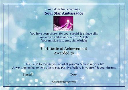 Your Space Soul Star Ambassador Certific