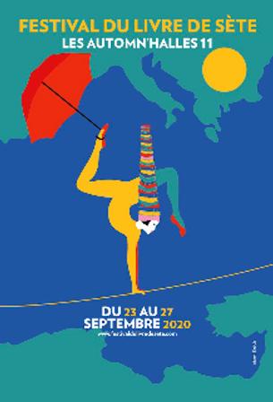 Affiche du festival du livre de Sète,  les Automne'Halles 2020
