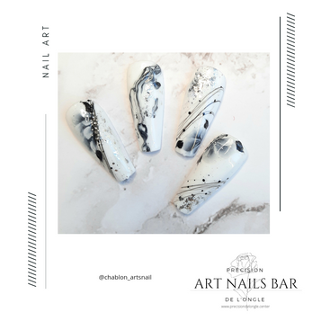 Nail art marble ,one stroke