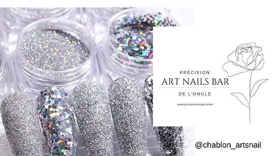 Art nails bar glitter