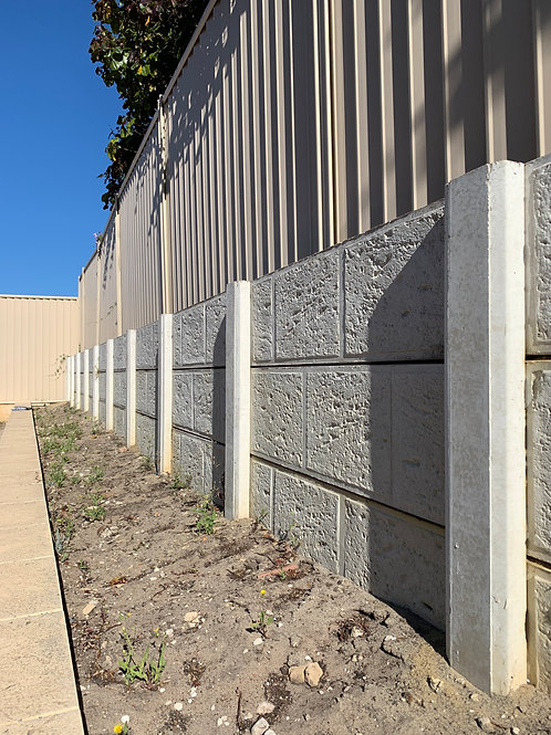 Concrete panel and post retaining wall certified engineering details Perth