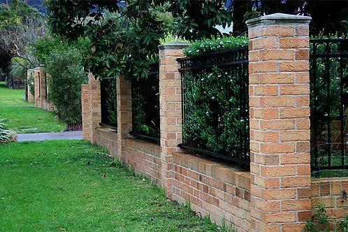 Brick screen wall with brick piers
