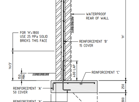 Structural engineering of Australian retaining wall, inspection requirements, construction drawings