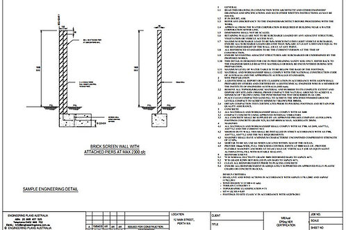 Brick Screen Wall with Attached Piers - Structural Engineer Certified Details